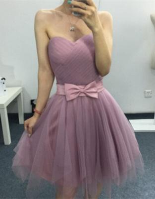 Modern Sweetheart Sleeveless Homecoming Dress UK Bow Mini A-line_1