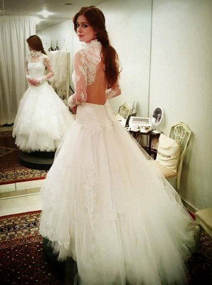 High Neck Lace Appliques Wedding Dress Tulle Sexy Mermaid Long Sleeve_1