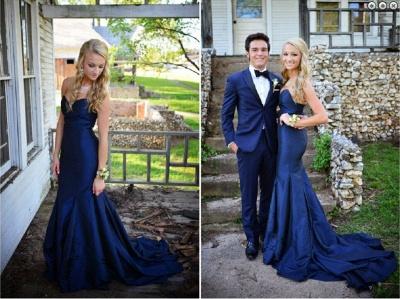 Luxury Sweetheart Navy Blue Evening Dress UKes UK Mermaid Sweep Train Prom Gowns_4