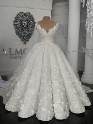 Gorgeous Ball Gown Wedding Dresses UK Off-the-Shoulder Floral Beads Bridal Gowns_1