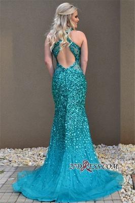 Mermaid Open-Back Open-Back Sleeveless Elegant Crystal Prom Dress UK_1