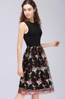 Sleeveless Short A-Line Tulle Black Flowers Homecoming Dress UKes UK_4