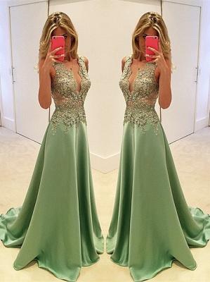 Luxury Sleeveless Appliques Evening Dress UK Long Floor Length BA3158_1