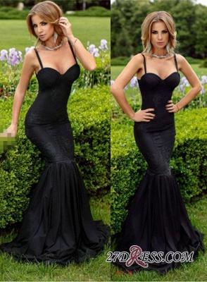Spaghetti-Straps Mermaid Lace Black Sweetheart Elegant Evening Dress UK BA4069_1