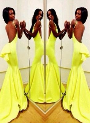 Backless Yellow Mermaid Prom Dress UKes UK Sleeveless Spaghetti Straps Evening Gowns BK0_3
