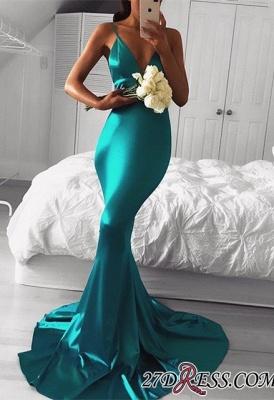 Green Elegant Sleeveless Mermaid Spaghetti-Strap Prom Dress UK BA7761_2