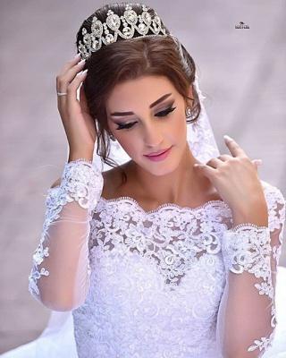 Delicate Off-the-shoulder Tulle Lace Appliques Wedding Dress Court Train_3