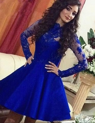 Royal-Blue A-Line Lace Short Long-Sleeve Cute Homecoming Dress UKes UK BA3800_3