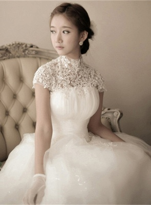 Elegant Tulle Lace Appliques Wedding Dress High Neck Ball Gown_6