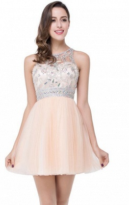 Sexy Beadings Crystal Short Prom Dress UK Chiffon Homecoming Gown_5
