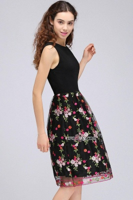 Sleeveless Short A-Line Tulle Black Flowers Homecoming Dress UKes UK_5