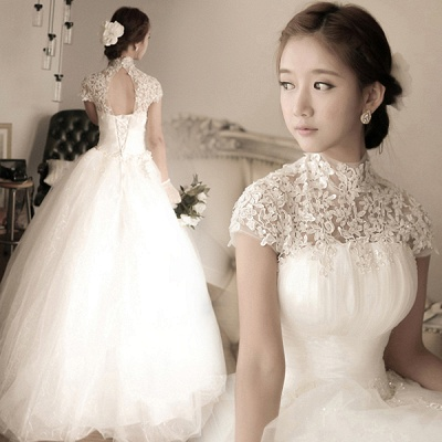 Elegant Tulle Lace Appliques Wedding Dress High Neck Ball Gown_4