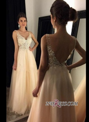 V-Neck Champagne Open-Back Lace A-line Long Beaded Prom Dress UKes UK BA4046_2
