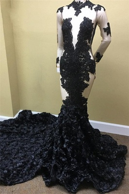 Elegant Black Long Sleeve Prom Dress UK | Lace Evening Gown With Flowers Bottom RM0_1