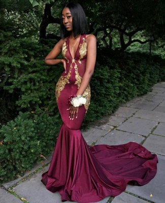 Burgundy V-Neck Prom Dress UK, Mermaid Evening Dress UK BA8082_3