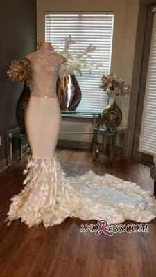 Mermaid High-Neck Prom Dress UKes UK Sleeveless Sleeveless Appliques with Ruffles_2
