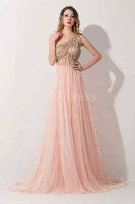 Lovely Pink One Shoulder Prom Dress UK Long Chiffon Lace_1