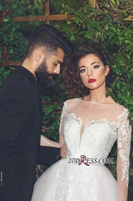 Crystal Tulle White Elegant Long-Sleves Appliques Wedding Dress_1