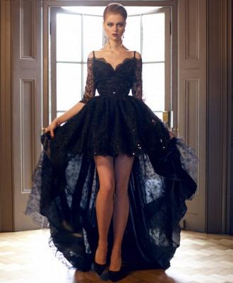 Luxury Hi-Lo Off-the-Shoulder Lace Half-Sleeve Evening Prom Dress UK_1