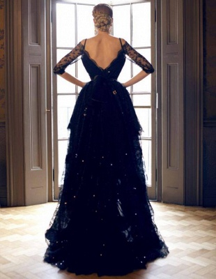 Luxury Hi-Lo Off-the-Shoulder Lace Half-Sleeve Evening Prom Dress UK_3