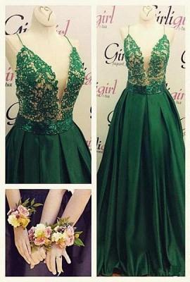 Luxury Green Spaghetti Straps Evening Dress UK Long Lace Appliques_2
