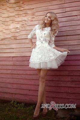 Sheer 3D-Floral Half-Sleeves Short Appliques  Wedding Dresses UK_2