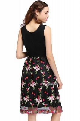 Sleeveless Short A-Line Tulle Black Flowers Homecoming Dress UKes UK_3