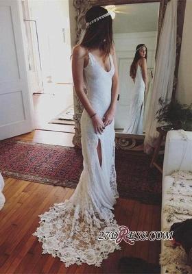 Gorgeous Lace Sleeveless V-Neck Split Beach Wedding Dress_1
