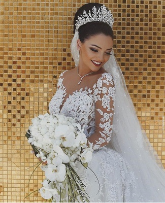 Elegant Long Sleeve Lace Wedding Dress | 2019 Sexy Mermaid Bridal Gowns On Sale_3