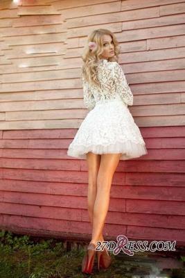 Sheer 3D-Floral Half-Sleeves Short Appliques  Wedding Dresses UK_3