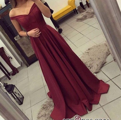 Off-the-Shoulder Burgundy A-line Teens Sexy Prom Dress UKes UK BA4791_1