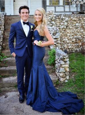 Luxury Sweetheart Navy Blue Evening Dress UKes UK Mermaid Sweep Train Prom Gowns_1