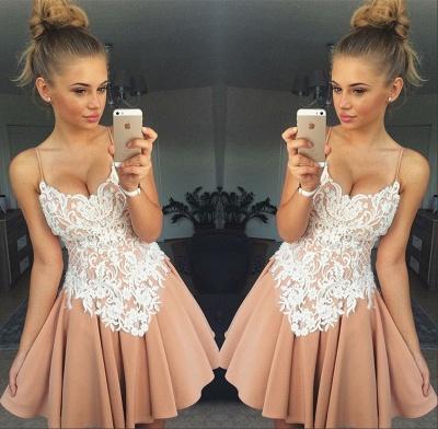 Spaghetti-Straps Homecoming Dress UK | Lace Short Party Dress UK_3