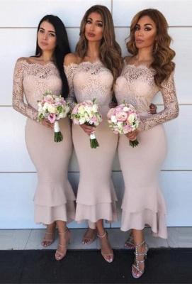 Hot Sale Long Sleeve Bridesmaid Dress UK   Lace Maid of Honor Dress UK_2