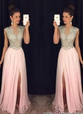 A-line luxury Crystals Long Beaded Pink Front-Slit Prom Dress UKes UK AP0 BA4627_3