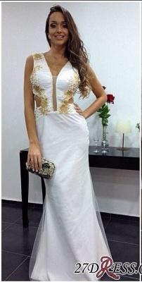 White Sheath Elegant Floor-length V-neck Prom Dress UK_2