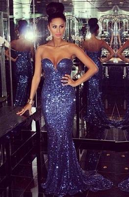 Elegant Sweetheart Sleeveless Mermaid Prom Dress UK With Sequins_2