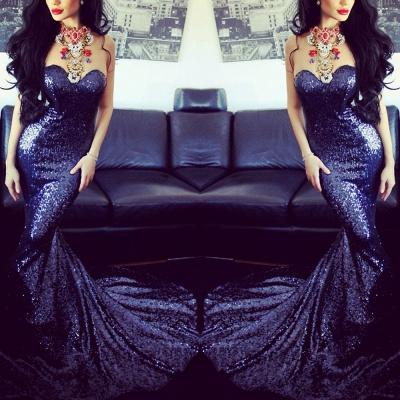 Elegant Sweetheart Sleeveless Mermaid Prom Dress UK With Sequins_3