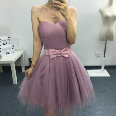 Modern Sweetheart Sleeveless Homecoming Dress UK Bow Mini A-line_3