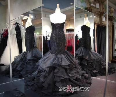 Modern Black Sweetheart Sweep-Train Ruffles Sleeveless Lace-up Evening Gown_1