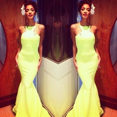 Backless Yellow Mermaid Prom Dress UKes UK Sleeveless Spaghetti Straps Evening Gowns BK0_2