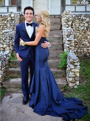 Luxury Sweetheart Navy Blue Evening Dress UKes UK Mermaid Sweep Train Prom Gowns_3