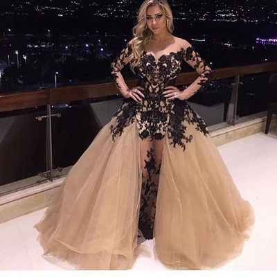 Gorgeous Long Sleeve Black Appliques Prom Dress UK Tulle Ruffles Party Gowns BA8156_3