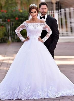Delicate Off-the-shoulder Tulle Lace Appliques Wedding Dress Court Train_1