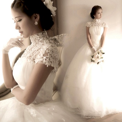 Elegant Tulle Lace Appliques Wedding Dress High Neck Ball Gown_3