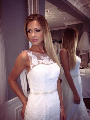 Elegant Lace Sexy Mermaid Sleeveless Wedding Dresses UK Open Back Crystall Bridal Gowns_4