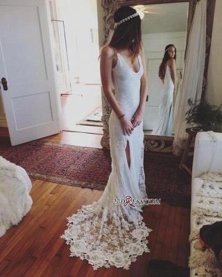 Gorgeous Lace Sleeveless V-Neck Split Beach Wedding Dress_2