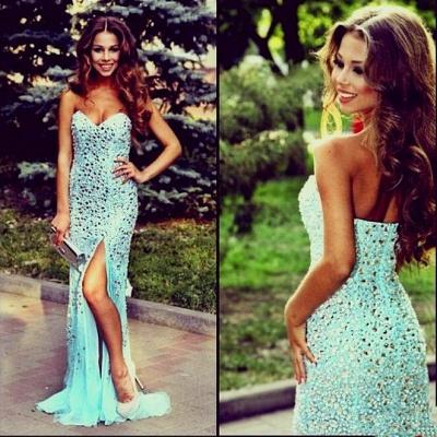 Luxurious Mermaid Crystals Prom Dress UK Front Split Sweep Train_2
