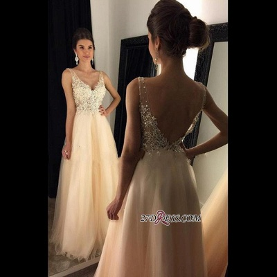V-Neck Champagne Open-Back Lace A-line Long Beaded Prom Dress UKes UK BA4046_1