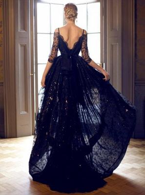 Luxury Hi-Lo Off-the-Shoulder Lace Half-Sleeve Evening Prom Dress UK_2